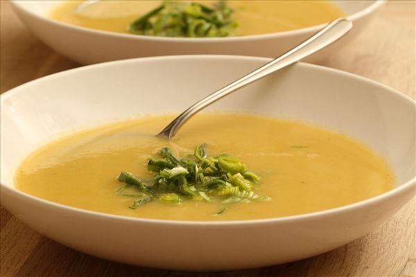 Grønsagssuppe med porre og selleri