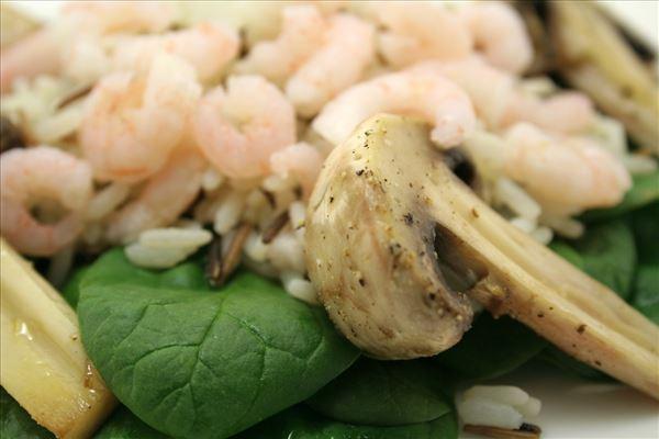 Ris med rejer og champignon