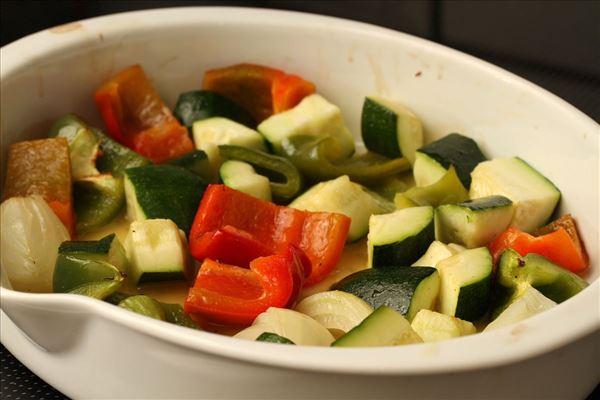 Grillspyd med glaserede grønsager