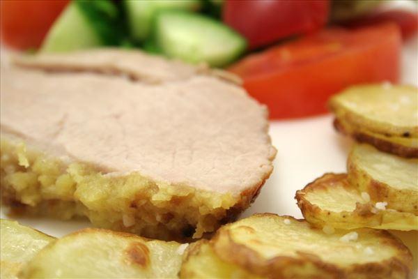 Skinkeculotte med ovnstegte kartoffelskiver - Madopskrifter.nu