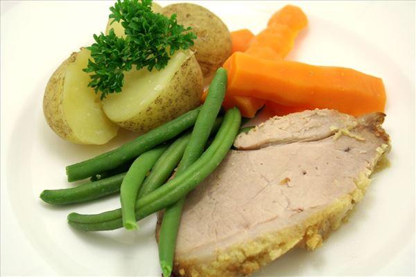 Skinkeculotte med kartofler og grønsager