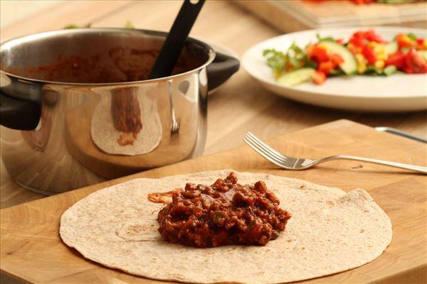 Mexicanske wraps med svinekød