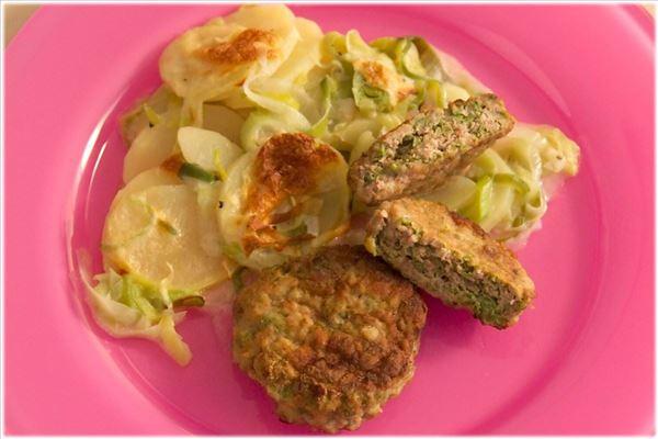 Karbonader med bønner og porre-kartofler