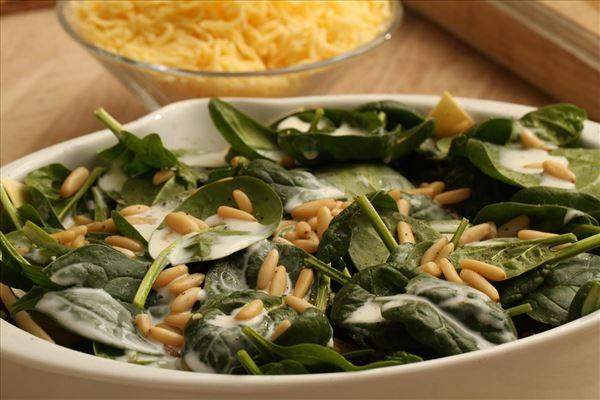 Lakselasagne med pinjekerner og spinat