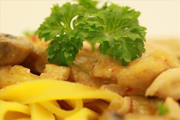 Kalkun i paprikacreme med frisk pasta