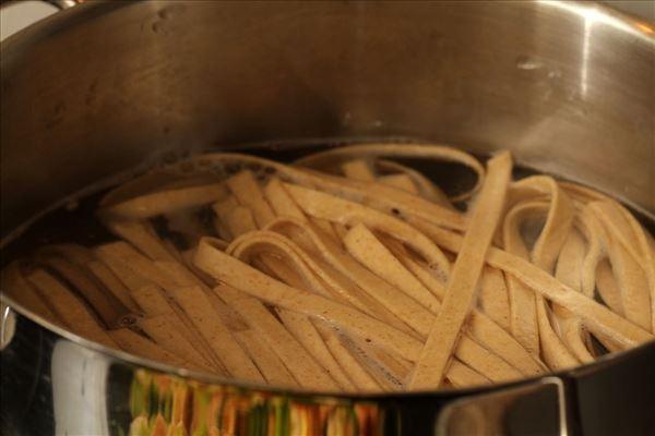 Frisk pasta med laks og æble