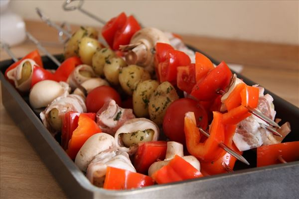Grillet Kartoffelspyd med bacon og champignon