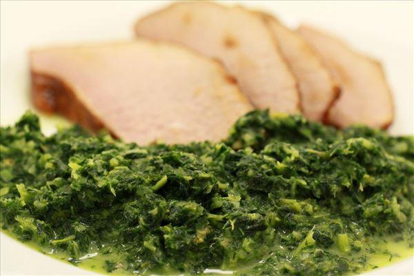 Glaseret skinke med grønlangkål - Madopskrifter.nu