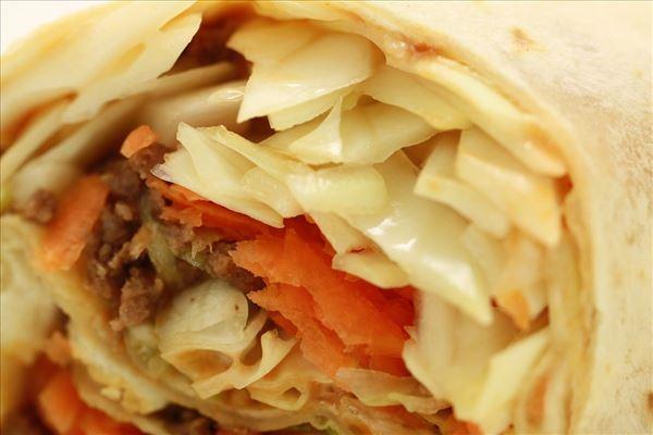 Taco pandekage med kål og gulerod