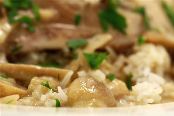 Estragonkylling med ris og flødesovs