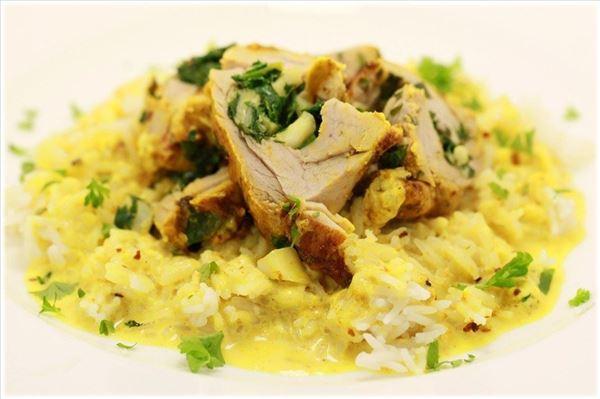 Karry/chili svinemørbrad i flødesovs med ris