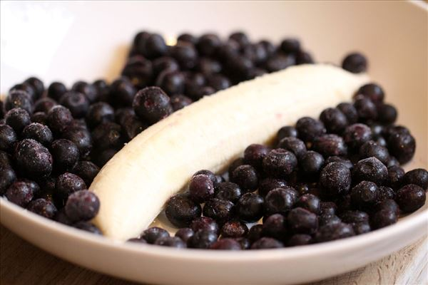 Fedtfattig blåbær/banan smoothie