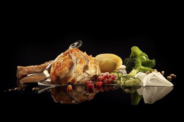 Stegt kylling med rabarberkompot