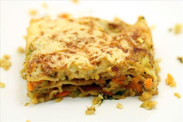 Margits vegetarlasagne med bulgur og gulerødder