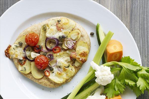 Kartoffelpizzaer med frisk grønt