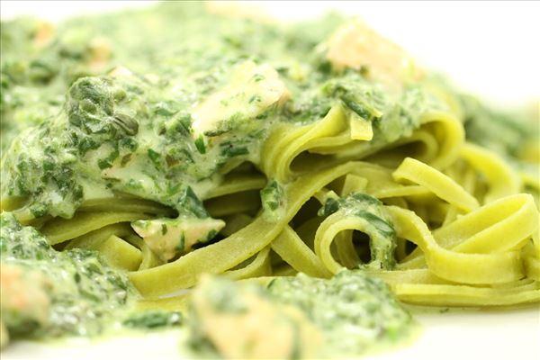 Laks i spinat med frisk pasta