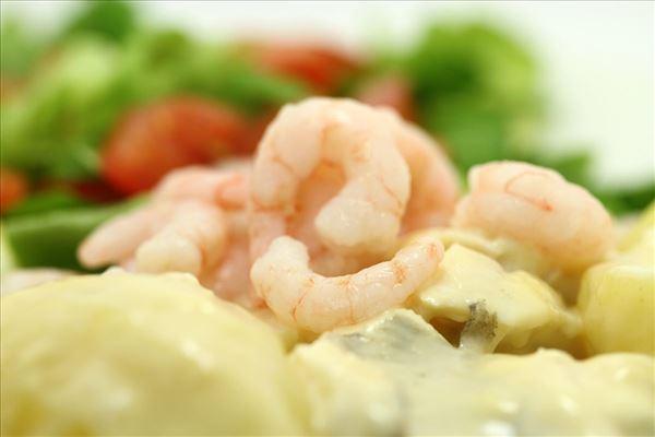 Fiskefilet i flødesauce med tomat og rejer