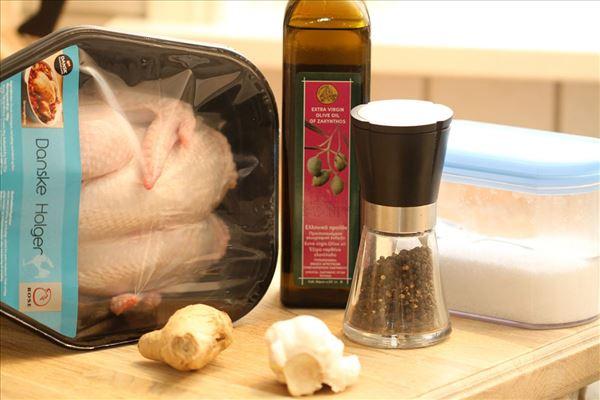 Grillet kylling med hvidløg og ingefær
