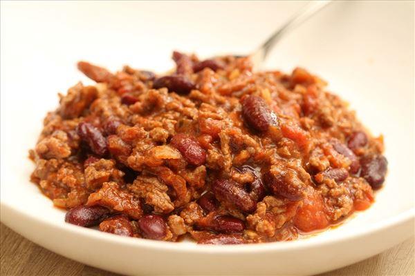 Chili con carne med soltørrede tomater