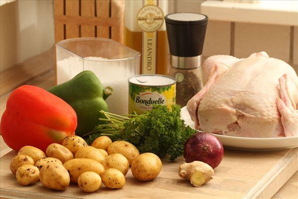 Helstegt kylling med grønt og persillekartofler