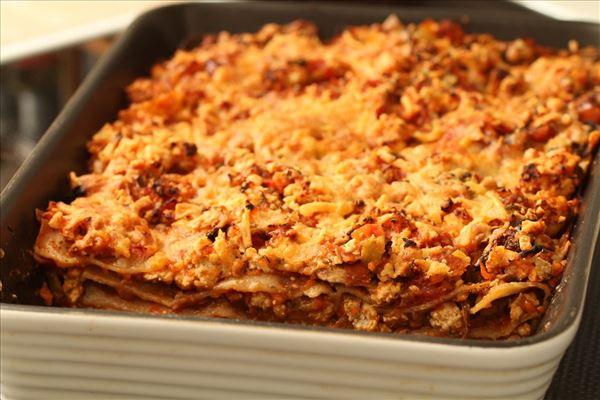 Kalkunlasagne med grøntsager og mozzarella