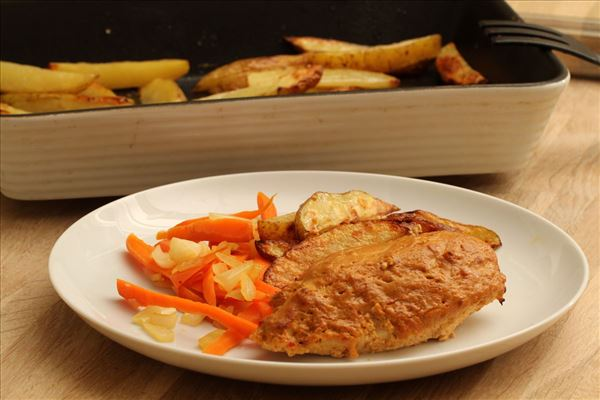Tikka kylling med ovnbagte kartofler