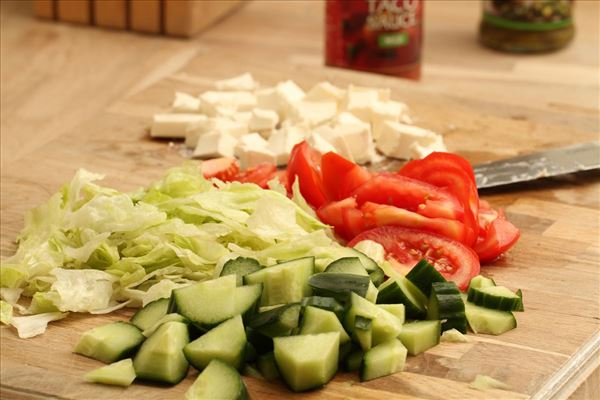 Taco salat med ris og hakket oksekød